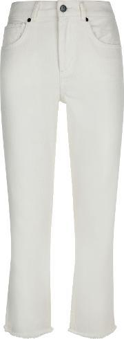 Jaeger , Raw Cut Straight Cropped Jeans, Neutral
