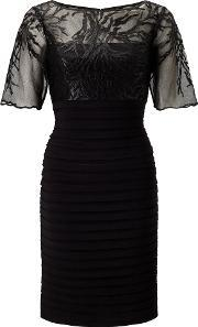 Adrianna Papell , Short Sleeve Embroidered Bandeau Dress, Black