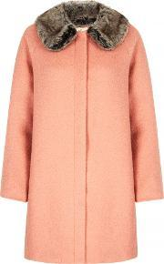 Yumi , Faux Fur Collared Cocoon Coat, Coral