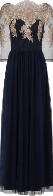 Chi Chi London , Embroidered Bodice Maxi Dress, Navy