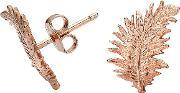 Dower & Hall , Rose Feather Stud Earrings, Na