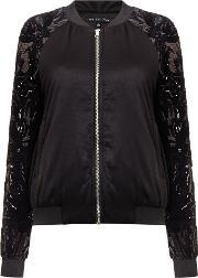 Endless Rose , Long Sleeved Sequin Bomber Jacket, Black