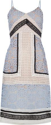 Endless Rose , Sleeveless Vneck Embroidered Pannel Shift Dress, Pale Blue