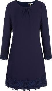 Uttam Boutique , Long Sleeve Lace Shift Dress, Navy