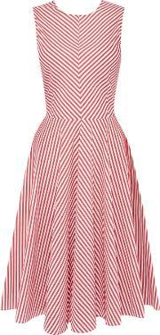 Marella , Magenta Sleeveless Fit And Flare Striped Dress, Ruby