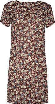 Alice & You , Short Sleeve Printed Dress, Burgundy