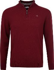 Calvin Klein Golf , Men's  Superwool Zip Neck Sweater, Burgundy