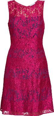 Gina Bacconi , Bright Wine Scallop Eyelash Lace Dress, Navy