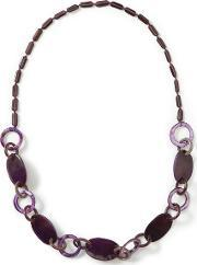 East , Horn And Shell Link Necklace, Purple