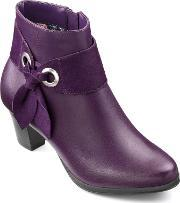 Hotter , Anastasia Ladies Heeled Ankle Boot, Purple