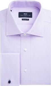 Paul Costelloe , Men's  Modern Fit Lilac Twill Double Cuff Shirt, Lilac