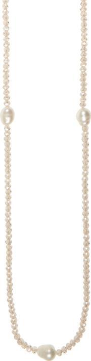 Winser London , Long Freshwater Pearl And Crystal Necklace, Cream