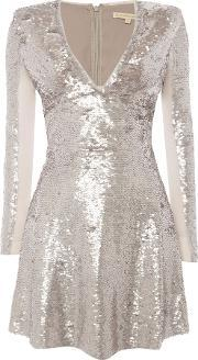 Little White Lies , Long Sleeved V Neck Fit And Flare Dress, Grey