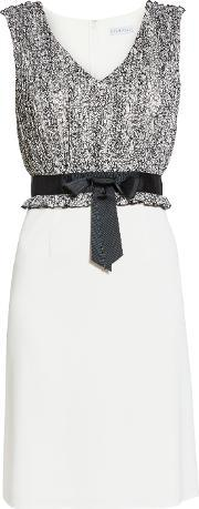 Gina Bacconi , Crepe Dress With Itsy Chiffon Bodice, Blackwhite