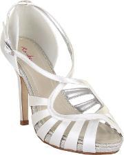 Rainbow Club , Cassie Strappy Satin Sandal Heel Shoes, Ivory