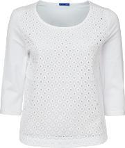 Winser London , 34 Sleeve Broderie Anglaise Top, White