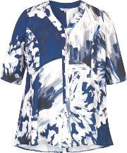 Chesca , Abstract Block Flower Print Jacket, Blue
