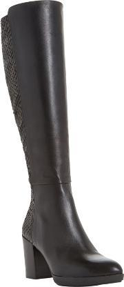 Dune Black , Tolla Leather Reptile Panelled Knee High Boot