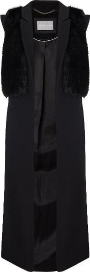 Grace & Oliver , Erin Faux Fur Trim Sleeveless Coat