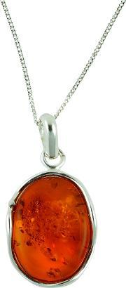 Bejewelled , Be Jewelled Sterling Silver Amber Free Form Pendant Necklace