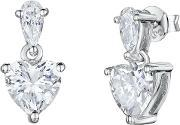 Jools By Jenny Brown , Small Cubic Zirconia Heart Drop Earrings