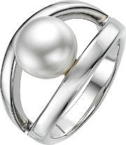 A B Davis , Sterling Silver White Pearl Oyster Ring