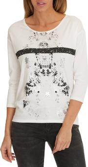 Betty & Co , . Metallic Motif Print Top