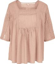 Fat Face , Fawn Lace Detail Blouse