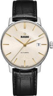 Rado , R22860105 Men's Coupole Classic Date Automatic Leather Strap Watch