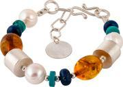 Bejewelled , Be Jewelled Sterling Silver Amber Pearl Turquoise And Lapis Bracelet