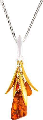 Bejewelled , Be Jewelled Cluster Drop Amber And Gold Plated Pendant Necklace