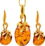 Bejewelled , Be Jewelled Gold Plated Sterling Silver Hand Cut Pebble Amber Pendant Necklace And Earrings Gift Set