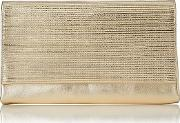 Gold , Madeline  Textured Metallic Leather Clutch