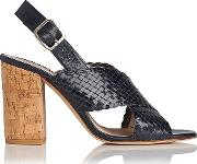 Mel , Navy Woven Leather Formal Sandals