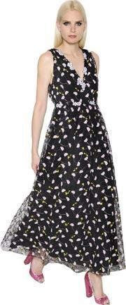 Giamba , Floral Embroidered Tulle Dress