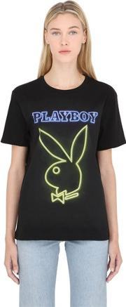 Playboy , Bunny Print Cotton Jersey T Shirt