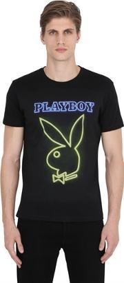 Playboy , Bunny Printed Cotton Jersey T Shirt