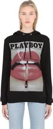 Playboy , Lip Printed Cotton Sweatshirt