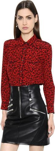 Coach 1941 , Leopard Printed Solid Silk Crepe Shirt