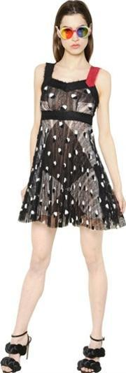 Marco De Vincenzo , Pleated Mohair Embroidered Lace Dress