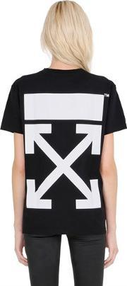 Off White , Arrow Printed Cotton Jersey T Shirt