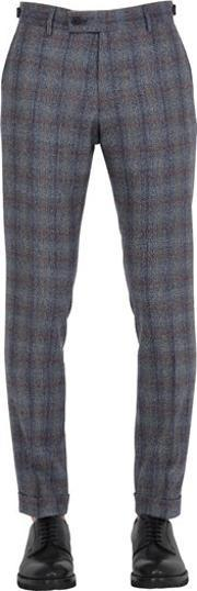 Berwich , Plaid Wool Cropped Trousers
