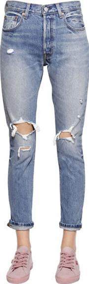 Levis Red Tab , 501 Skinny Destroyed Cotton Denim Jeans