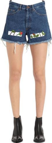 Off White , Roses Embroidered Cotton Denim Shorts