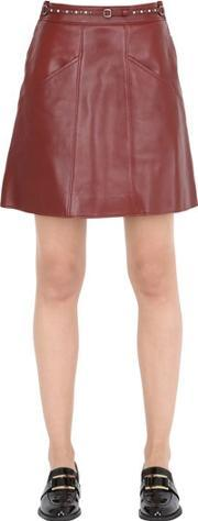 Coach 1941 , Belted Leather Skirt W Quilting Details