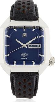 March Lab , Square Electric Watch With Leather Band