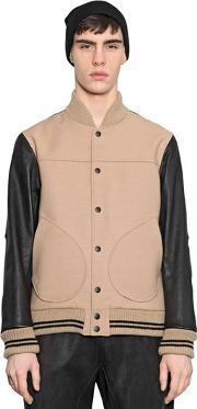 08 Sircus , Leather & Double Wool Bomber Jacket