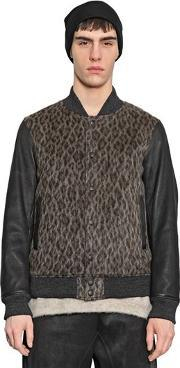 08 Sircus , Nappa Leather & Wool Blend Bomber Jacket