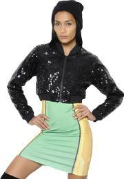 Adidas By Jeremy Scott , Quilted Sequined Cropped Bomber Jacket