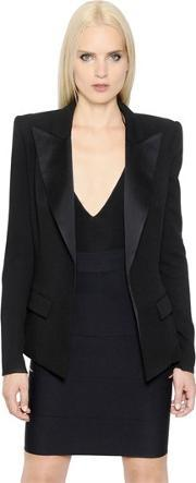 Alexandre Vauthier , Wool Crepe Jacket With Satin Lapels